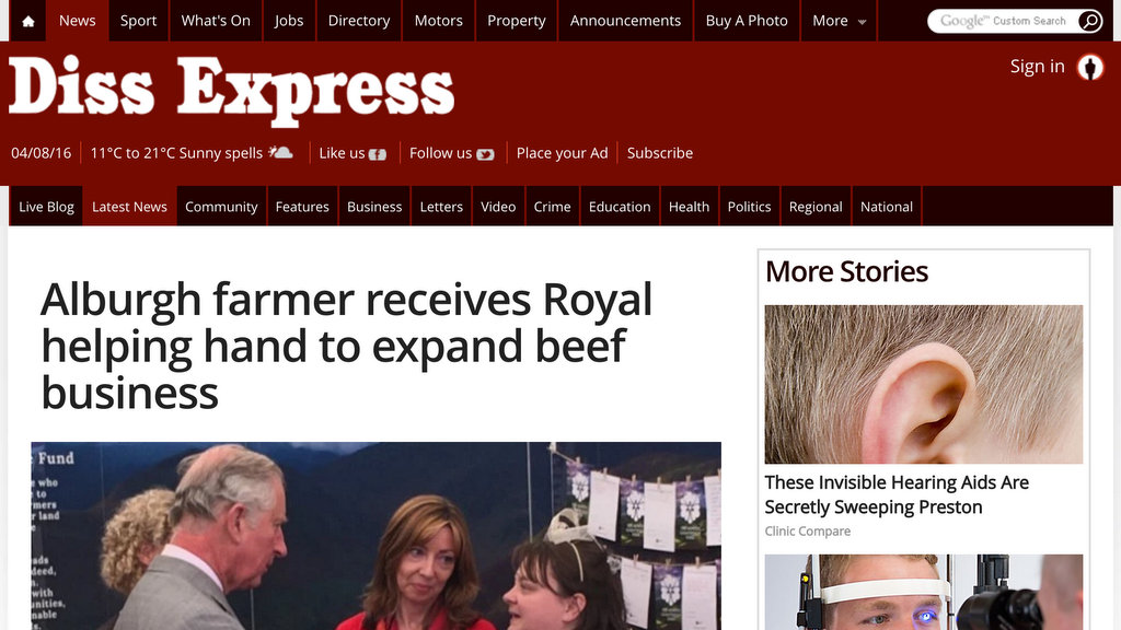 Alburgh farmer receives Royal helping hand to expand beef business