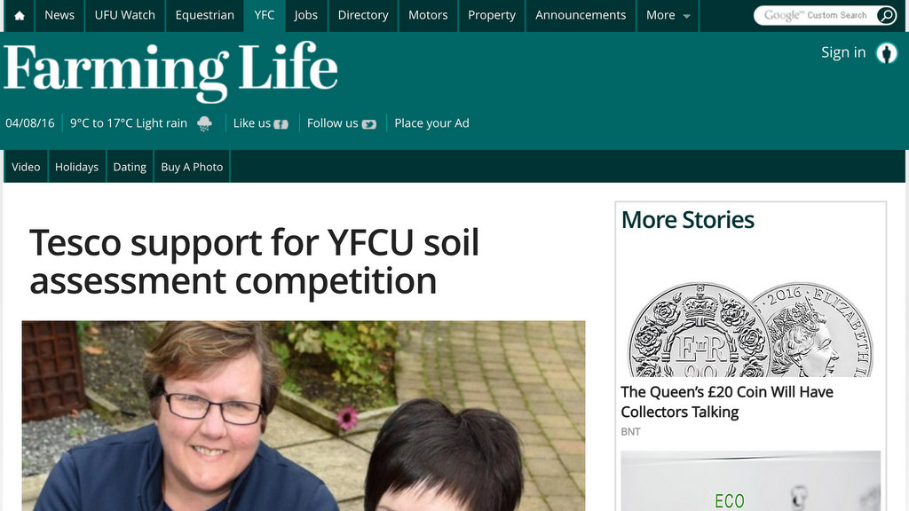 Tesco support for YFCU soil assessment competition